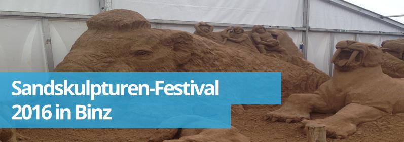 Zwillingsratgeber sand Sandskulpturen-Festival 2016 in Binz