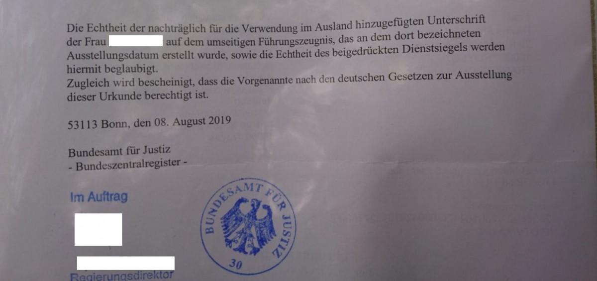 Zwillingsratgeber ueberbeglaubigung-fuehrungszeugnis-deutschland-3 Studentenvisum & Studieren - Dominikanische Republik